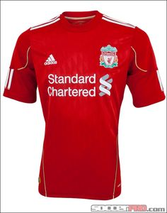 The adidas Liverpool Home Jersey for 2010-2012 is the classic red Liverpool shirt...and it looks legit...