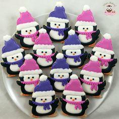 Penguin cookies, winter cookie, winter wonderland cookies, cute penguin cookies