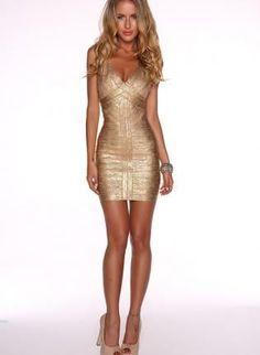 Bandage Fashion Gold Foil Print Bandage Dress Celebrity Style $99.99