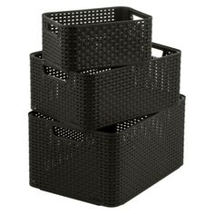 Curver Style Nesting Storage Baskets - Set of 3 - Brown
