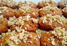 Melomakarona Greek walnut and honey cookie ~ start or continue a holiday tradition; mix, bake, cool, drench in honey syrup, sprinkle with walnuts, serve and enjoy!   12/10/16