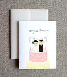 Wooden Peg Doll Wedding Card Set of 4 by joliejoliedesign on Etsy, $9.00