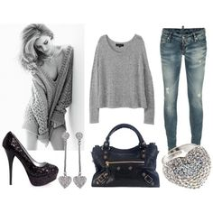 #Outfit #black #grey