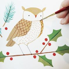 December 18: Sweet Owl #illo_advent #xmascardaday #annewashere