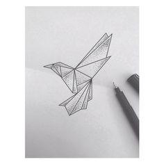 #origami #hummingbird #kolibri #bird #tattoo #ink #art #dots #dotwork #blackwork #linework