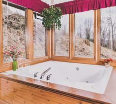 When it snows, you'll be indoors watching while soaking in your favorite bath bomb. Cabin Bathrooms, Gatlinburg Cabin Rentals, Pigeon Forge Cabins, Great Smoky Mountains, Bath Bombs, Corner Bathtub, Indoor, Homes, Decorations