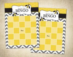 Bumble Bee Themed Baby Shower Bingo Cards (Fill Out Yourself) - Instant Download by FlemingFullerDesigns on Etsy