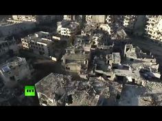 Aerial: Drone footage shows total devastation in Homs, Syria ..and we want to prohibit refugees from coming for sanctuary in another country? (EXCLUSIVE)