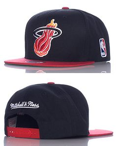 MITCHELL AND NESS Basketball snapback cap Adjustable strap on back of hat for ultimate comfort Embroidered Miami Heat team logo on front