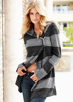 Grey Multi Striped Pin Cardigan - totally love this!