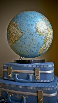 Modern vintage globe from my shop that still features USSR's dominance over Eastern Europe. Published by National Geographic in the early this globe is history in the making. In the spirit of traveling, I stacked the globe on top of my retro luggage! World Globe Map, Globe Art, World Globes, Map Globe, Globe Decor, Vintage Globe, Vintage Maps, Antique Maps, Antique Trunks