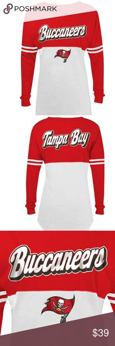 🍒NWT Women's NFL Tampa Bay Buccaneers ❤NWT❤ Long sleeve Tampa Bay Buccaneers  Varsity spirit baby Jersey tee , cotton , crew neck machine washable inside out with authentic NFL team apparel tag attached.    Please ask any and all questions before purchasing this item. NFL Team Gear  Tops Tees - Long Sleeve