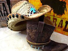 NaTuRaL StRaW CoWbOy HaT  TuRqUoiSe LeOpArD by DesignsBySuZyT, $59.95