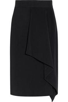 Black crepe Zip fastening along side 95% viscose, 5% elastane; trim: 78% viscose, 19% polyamide, 3% elastane Dry clean