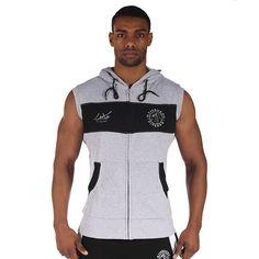 GymShark Luxe Sleeveless Zip Hoodie Grey/Black | GymShark International | Innovation In Fitness Wear