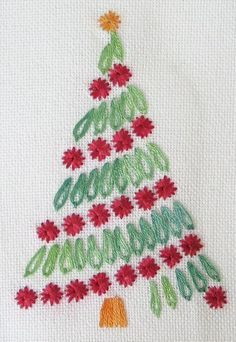 Brazilian Embroidery Patterns FREE Christmas and Holiday Patterns: Surface Embroidered Christmas Tree - From Santa and snow to trees and stars, get ready for holiday stitching with these 10 free Christmas hand embroidery patterns. Christmas Embroidery Patterns, Embroidery Patterns Free, Hand Embroidery Stitches, Silk Ribbon Embroidery, Hand Embroidery Designs, Embroidery Kits, Cross Stitch Embroidery, Christmas Patterns, Embroidery Needles