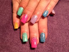 Glitter, spring colors, bright colors