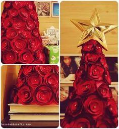 Como fazer árvore de natal com rosas de cetim