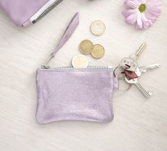Pink Keychain Pouch, Metallic Mini Coin Purse - gmaloudesigns - Etui na chip do wózka