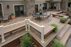 If your deck or porch is elevated, even a little, above grade level, it's best to polish off the underside with landscaping, skirting or other methods. Find and save ideas about Deck skirting ideas on here. Deck Skirting, House Skirting, Deck Colors, Colours, Raised Deck, Deck Landscaping, Custom Decks, Backyard Patio Designs, Backyard Decks