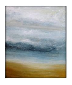Original Beach Abstract Ocean Seascape Landscape Acrylic Modern Painting on Canvas - 11x14 Cream, Gray,Blue, Golden Yellows. on Etsy, $100.00