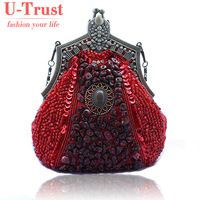 Women's Fashion Exquisite Beaded Evening Bags Elegant Noble Handbag Retro Stenciling Party Bag W-H-0086