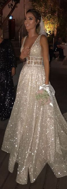 Shiny bridal dress with sequin, luxury Court Train evening dress, white Prom Dress Backless with Sequins