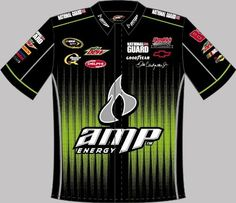 DALE EARNHARDT JR AMP BLACK/GREEN PIT CREW SHIRT by RacingGifts. $79.50. Nascar licensed pit crew shirt. Made of a cotton/synth. blend for comfort and durability, wash after wash these impressive shirts will turn heads wherever you go! They feature team colors, driver and sponsor logos and more! Reinforced stitching on the sleeves and collar, with long lasting driver graphics
