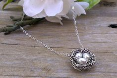 Nest Necklace Single Nest Trio in White Pink or by gotsparkles