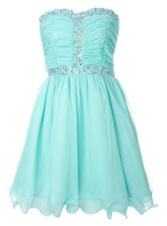 I love this beautiful aqua dress because it is plain and does not pop out and make me look like its not meant for me! Green Homecoming Dresses, Grad Dresses, Dresses For Teens, Prom Gowns, Cute Dresses, Beautiful Dresses, Evening Gowns, Short Dresses, Formal Dresses