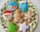 Felt Cookie Holiday Ornaments - Felt Christmas Cookie Ornament Set - Felt Christmas Decorations