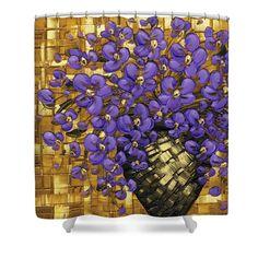 Floral Shower Curtain Golden Rust Brown Purple by ModernHouseArt
