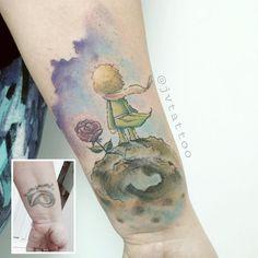 Cobertura delicada criada por JV Tattoo.  Pequeno principe e sua flor.  #tattoo #tatuagem #arte #art #delicada #fofa #sweet #cobertura #pequenoprincipe