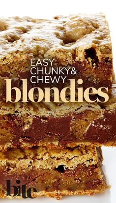 What do these two brunettes do when they want to have fun like blondes? Whip up a batch of these incredible blondies, chewy golden bars teeming with chocolate chunks. #DessetRecipes #holidaybaking #sweettooth