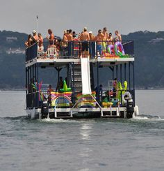 We've just added a brand new party barge to our fleet. This boat has all the amenities you will need for a fun filled party on the lake. Restroom, waterslide, propane BBQ pit, full CD stereo surround system are just the basics on this barge. The boat will comfortably accommodate 70 people.