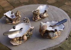 Oyster Shell Salt and Pepper cellars, hand made using shells.