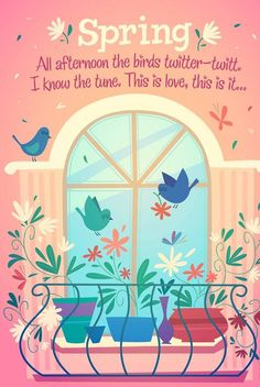 Window bird and flower vector free