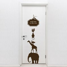 """Door Decal Welcome To The Zoo. This door vinyl sticker features animals layout and a """"Welcome to the zoo"""" message that will add a decorative and cool look to your doors, $49.99 http://www.coolwallart.com/kids-wall-decal-welcome-to-the-zoo.html"""
