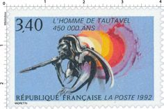 Timbre : 1992 L'HOMME DE TAUTAVEL 450 000 ANS | WikiTimbres