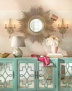 Sunburst Wall Mirror and mint console