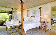 Yemanja Resort for Luxurious West Indies Vacation:Bamboo Bedstead with Tropical Decoration Right Side