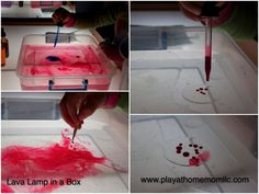 My girls love making lava lamps so much that I wanted to create something more hands on. We decided to do this one on the light panel for a fun effect. Lava Lamps, Light Panel, Tot School, Kids Playing, Collages, Activities For Kids, Posts, Children, Box