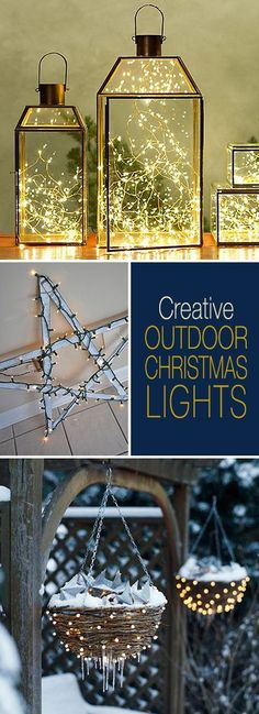 Creative Outdoor Christmas Lights Lots of Great Ideas & Tutorials! Creative Outdoor Christmas Lights Lots of Great Ideas & Tutorials! Noel Christmas, Christmas Projects, Winter Christmas, Christmas Ornaments, Indoor Christmas Decorations, Outdoor Christmas, Exterior Christmas Lights, Christmas Lights Outside, Christmas Porch Ideas
