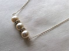 Bar Style Swarovski Pearl Necklace with Crystal Rondelles. by twizzleandtwirl on Etsy