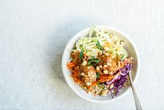 From The Kitchen: Meatballs on Brown Rice with Peanut Sauce and Asian Slaw