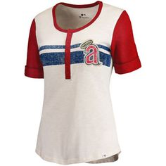 Women's Los Angeles Angels of Anaheim Fanatics Branded Cream/Red True Classics Henley T-Shirt