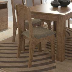 Cadeira Estofada  MDF 6 Peças Rústico/Marrom - Lojas KD (52x41,5x94) R$786,45