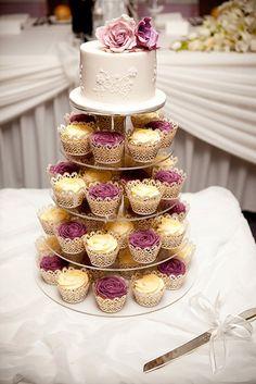 Mauve Wedding Cupcakes, via Flickr.