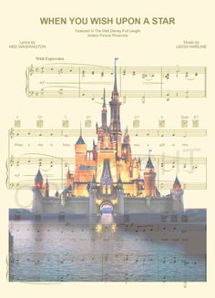 Disney World/Disneyland Sheet Music Art Print by AmourPrints