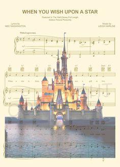 Disney World/Disneyland Sheet Music Art Print by AmourPrints